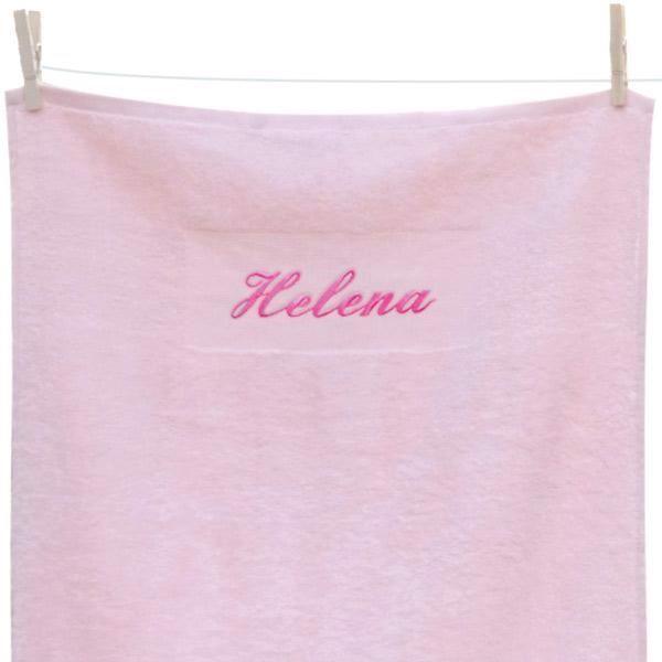 Håndklæde med navn, lyserødt