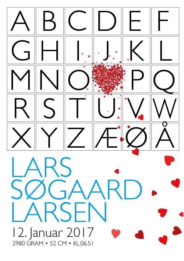 Image of Fødselsplakat - Alfabet hjerte blå A4 (432432423-423)