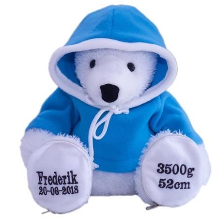 Bamse isbjørn med lyseblå trøje
