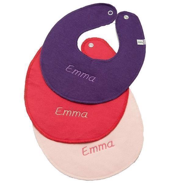Image of   3 hagesmække med navn - Mørklilla, pink, lyserød