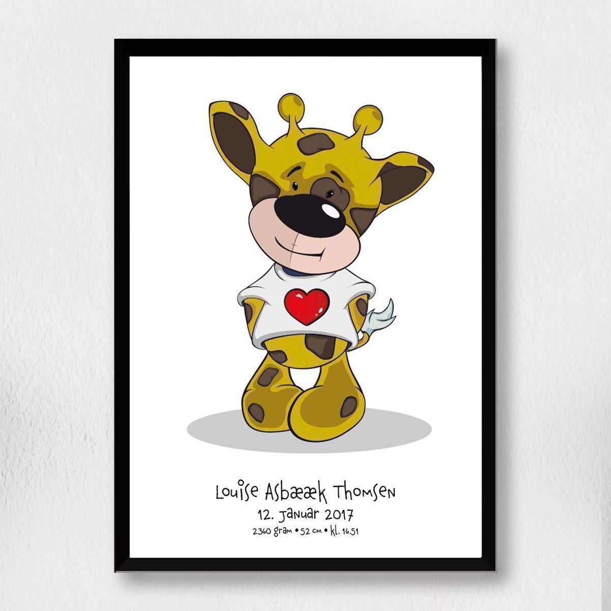 Billede af Fødselsplakat | A3 Hjerte giraf