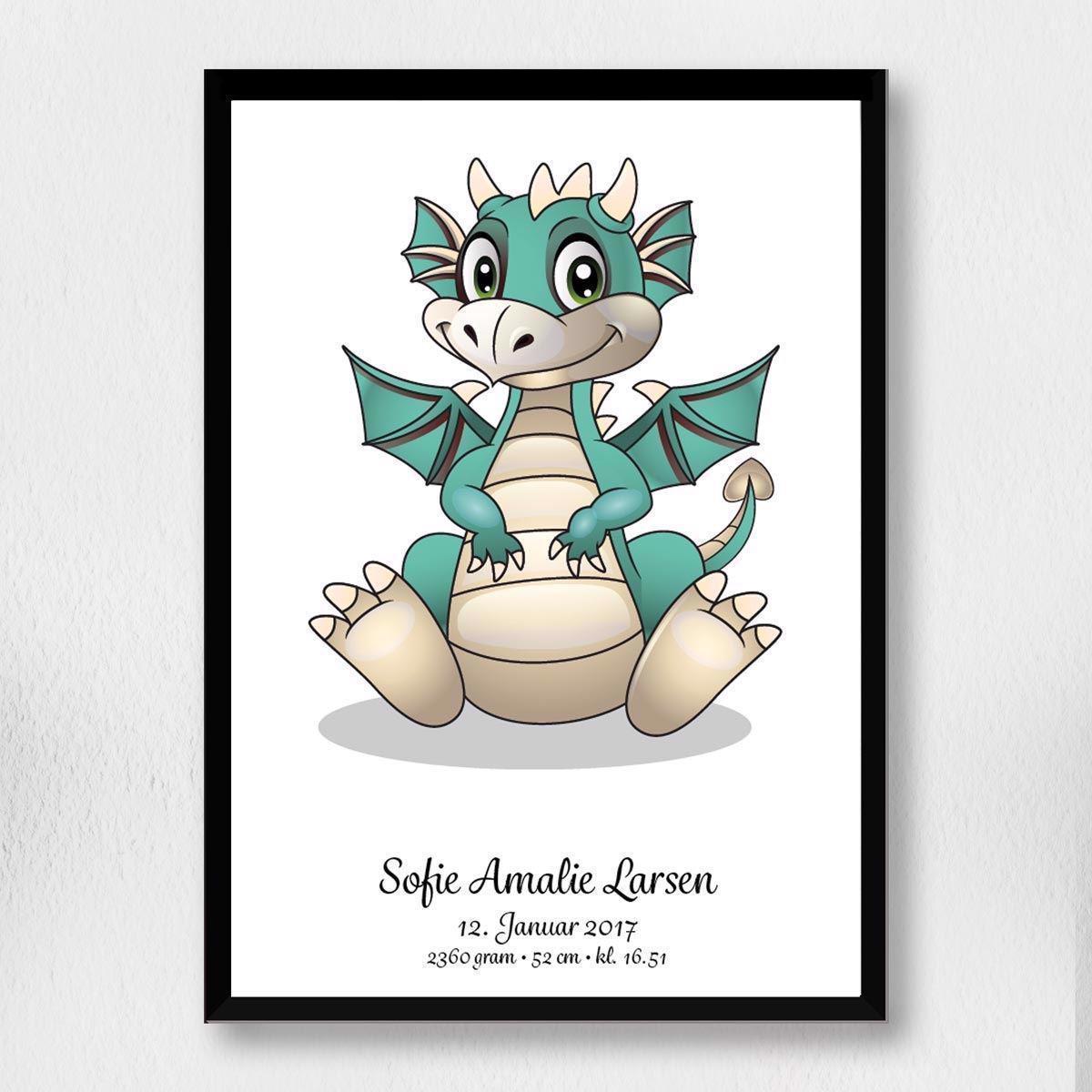 Image of Fødselsplakat | grøn drage A3 (Fødselsplakat | Grøn drage A3-Sort Ramme)