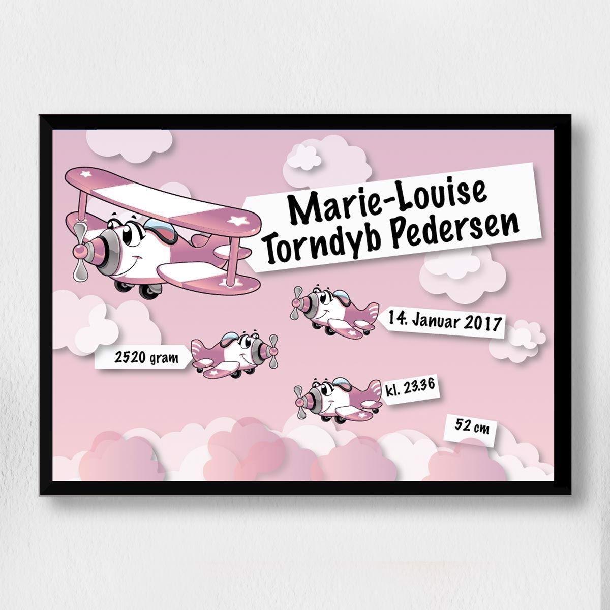 Image of   3Fødselsplakat | Lyserød flyver A3
