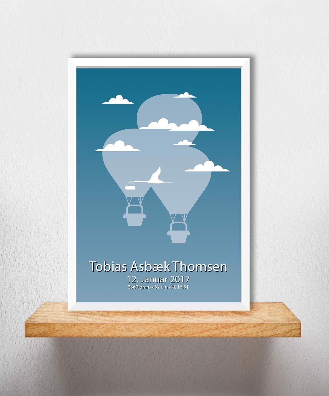 Fødselsplakat   Blå Luftballon A3