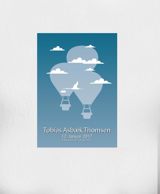 Billede af Fødselsplakat | Blå Luftballon A4