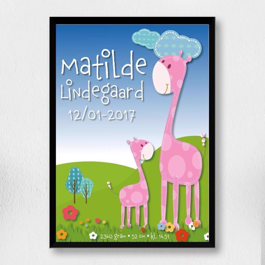 Billede af Fødselsplakat | Lyserøde Giraffer A3