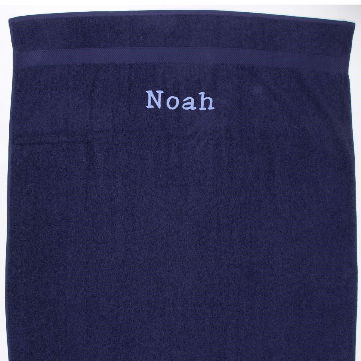 Image of   Håndklæde med navn - mørkeblå 100x 150 cm