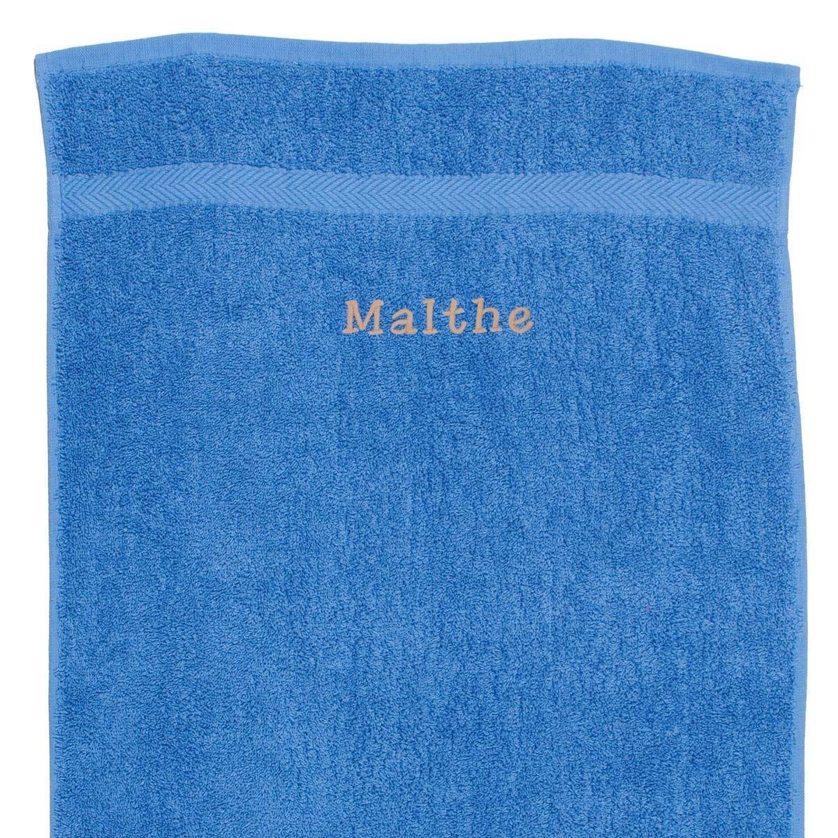 Image of   Håndklæde med navn - havblå 50 x 90 cm