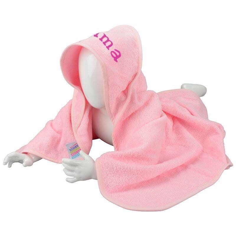 Image of Badeslag lyserød med navn (Badeslag-PinkBlossomLD3301-Brodering)