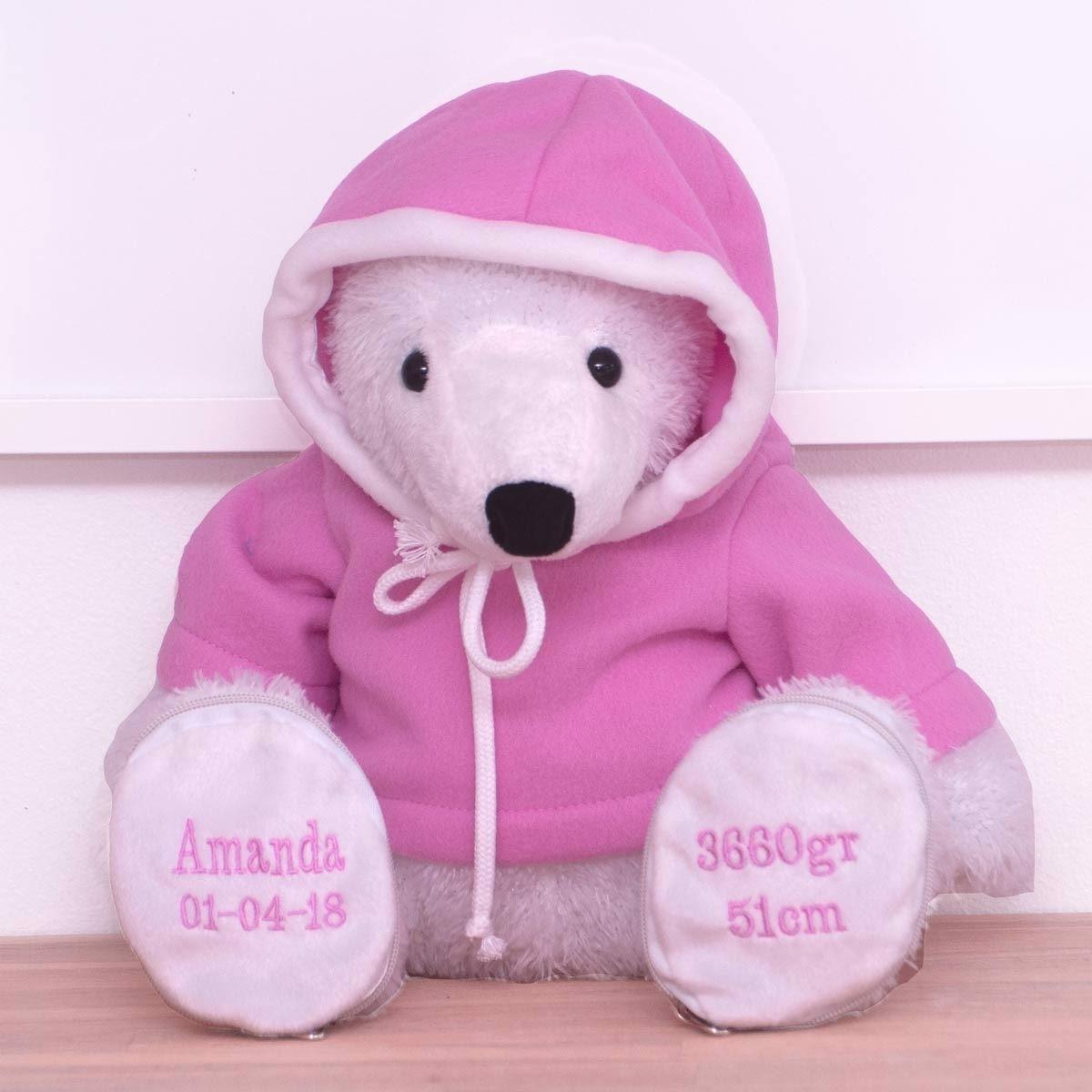 Bamse med navn isbjørn med pink trøje
