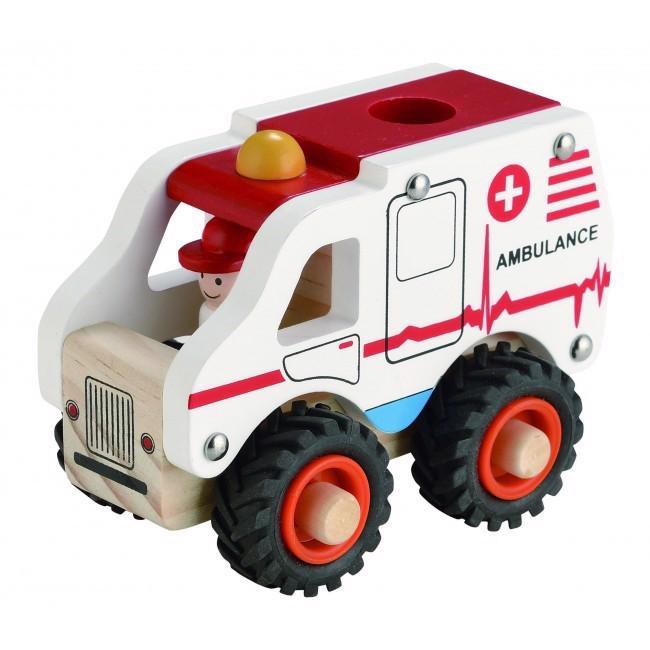 Image of   Ambulance i træ m. gummihjul