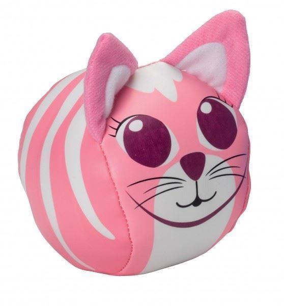 Billede af Charmerende blød bold udsmykket som en kat. Indbyder til leg og hygge. Er lavet af to kontrast materialer, som er spændende af udforske. Bolden er rund og blød og har påsyet 2 charmerende ører i blødt materiale. Farve: Lyserød og hvid