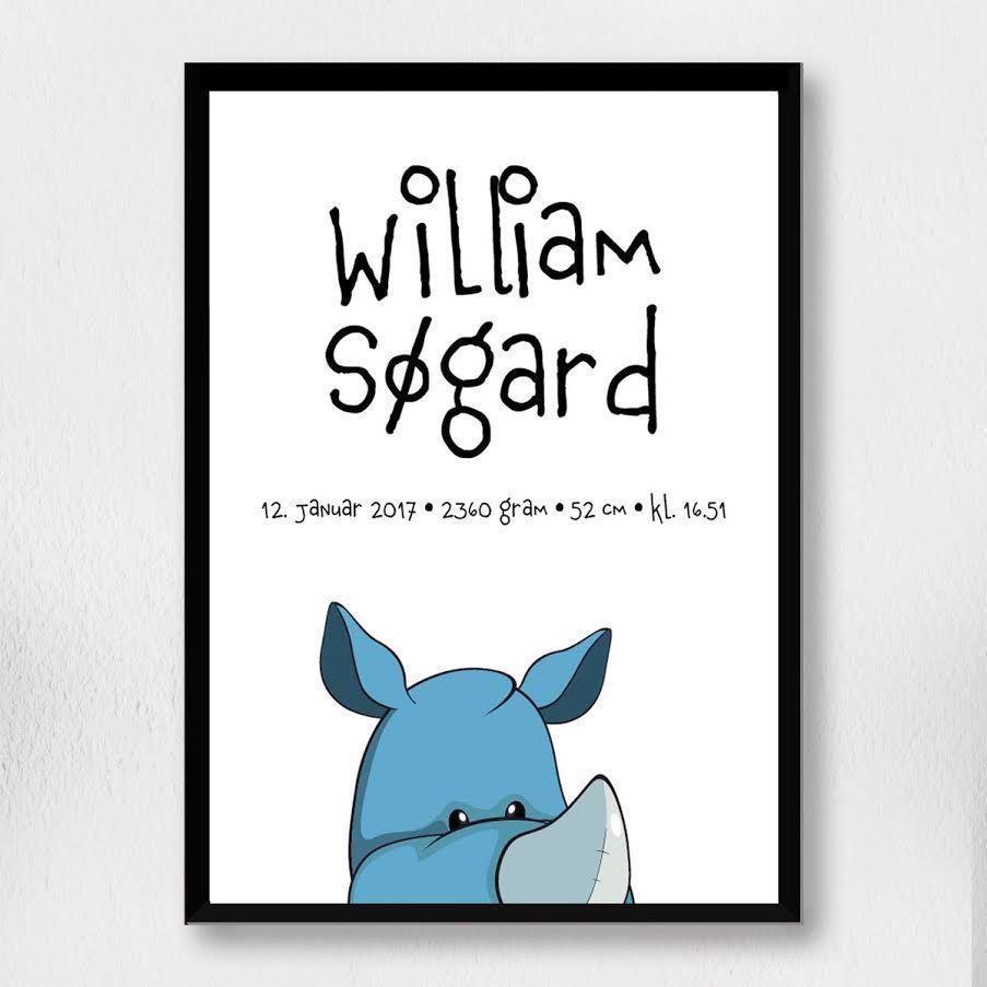 Billede af Fødselsplakat | Cartoon næsehorn hoved A4