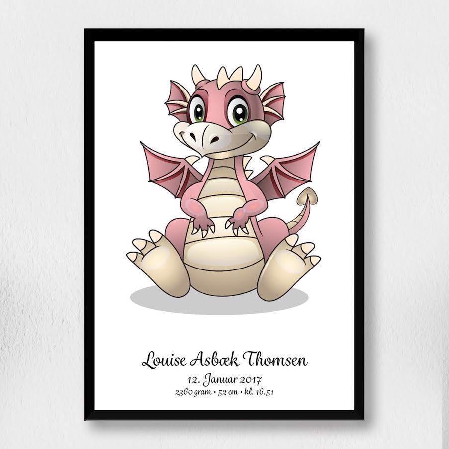 Fødselsplakat | rosa drage  A3