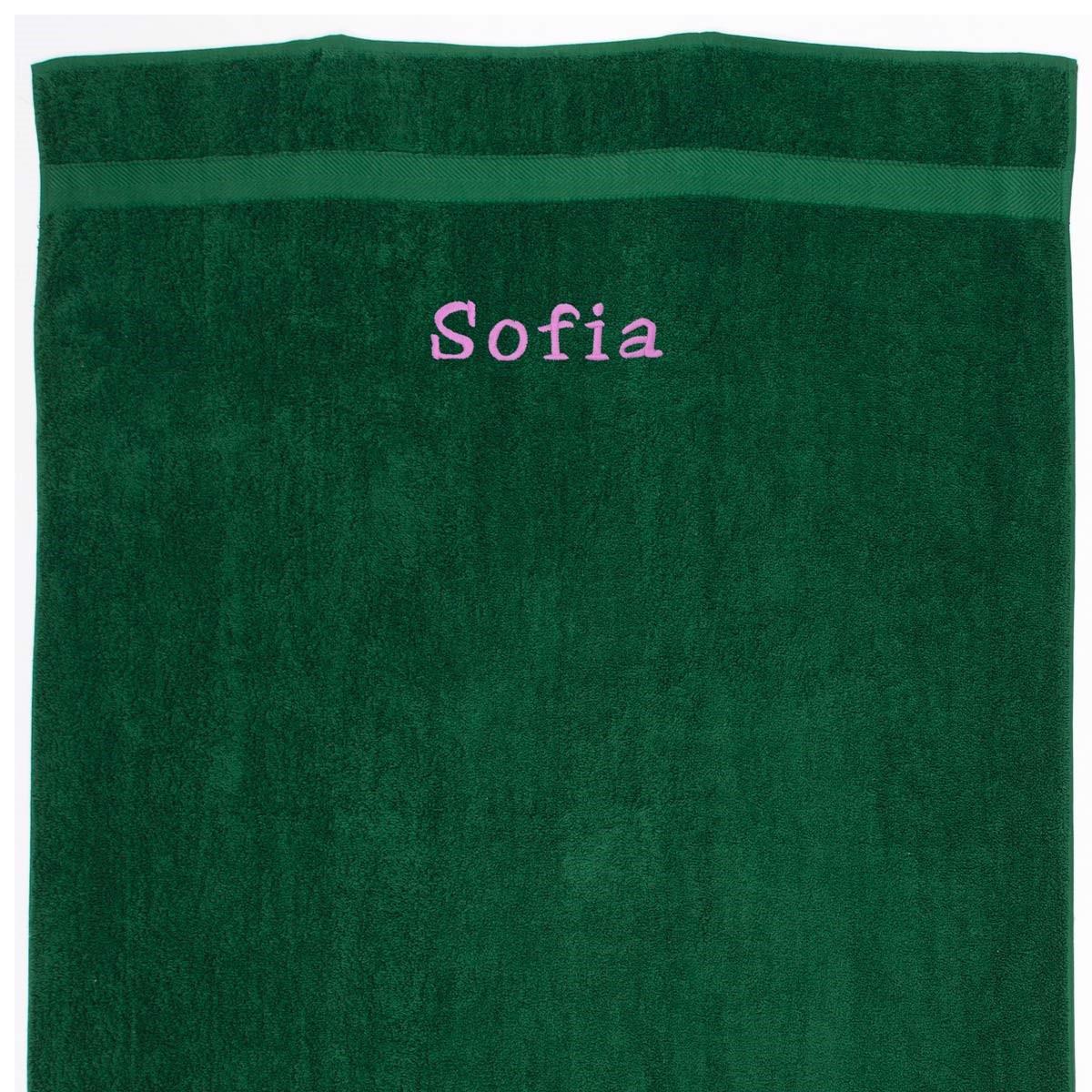 Image of   Håndklæde med navn - grøn 100 x 150cm