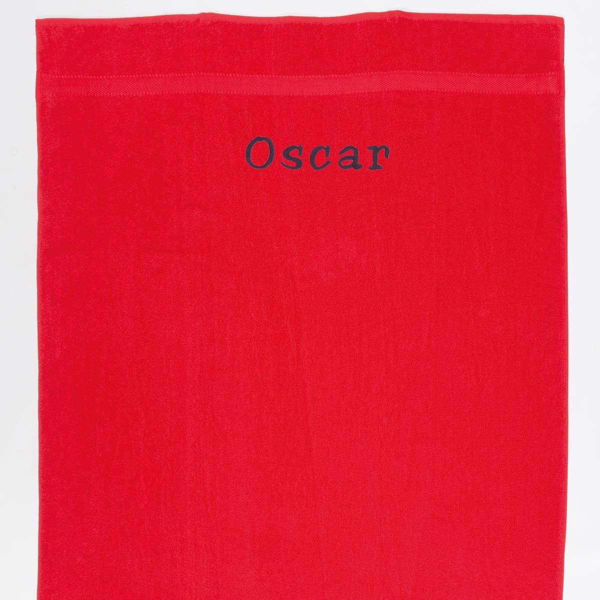 Image of   Håndklæde med navn - Rød 100x 150 cm