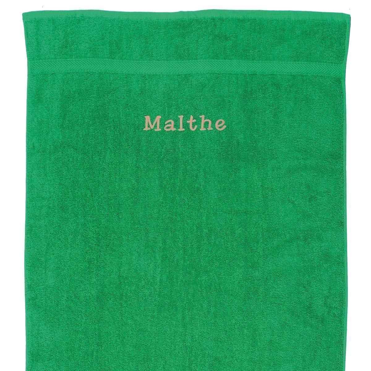 Image of   Håndklæde med navn - Græsgrøn 50 x 90 cm