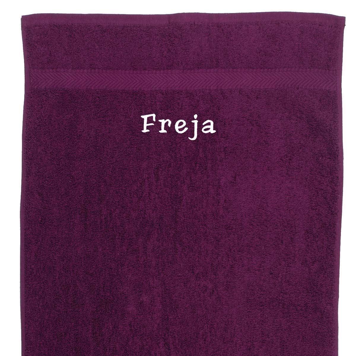 Image of   Håndklæde med navn - Blomme 50 x 90cm