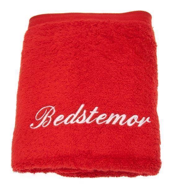 Håndklæde med navn, rødt 70x130