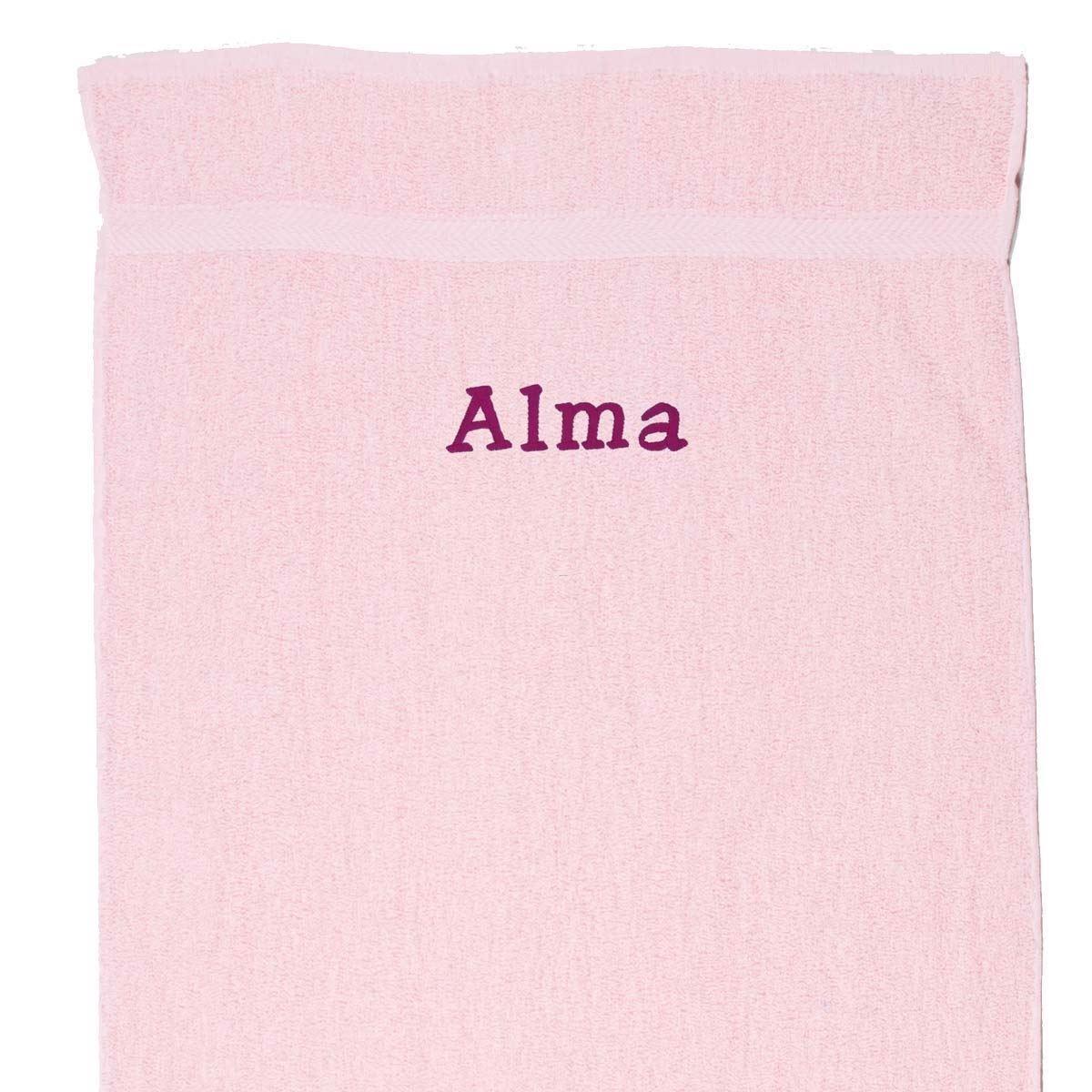 Image of   Håndklæde med navn - Lyserød 70 x 130 cm