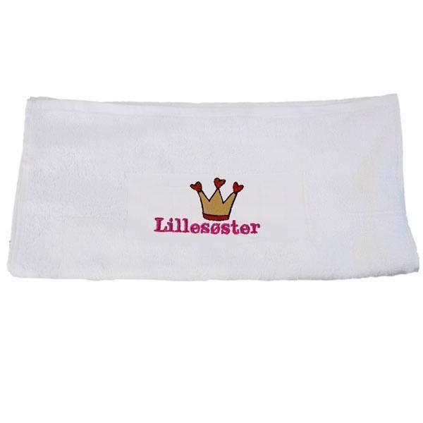 Håndklæde, hvidt med krone