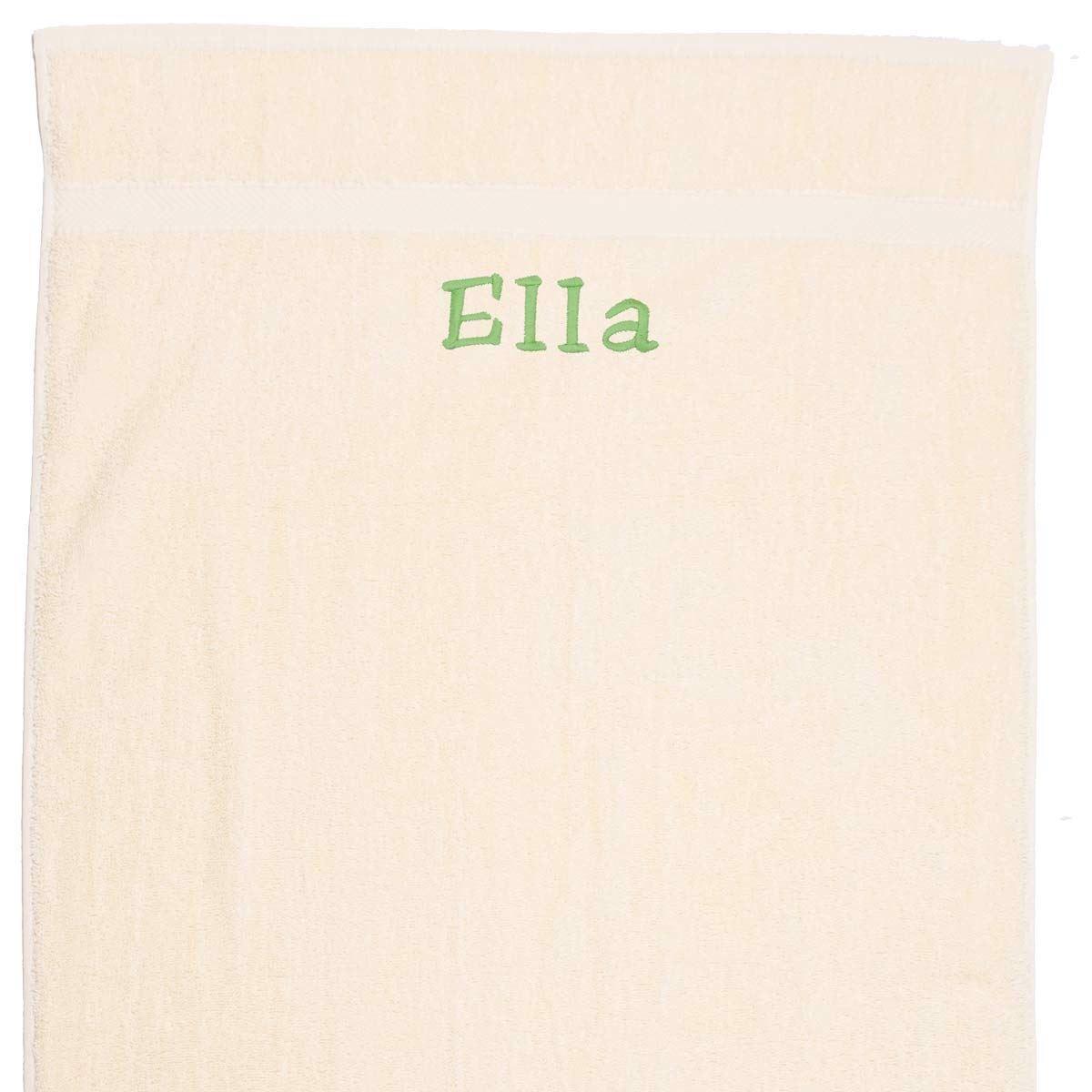 Image of   Håndklæde med navn, natur hvid 100x150