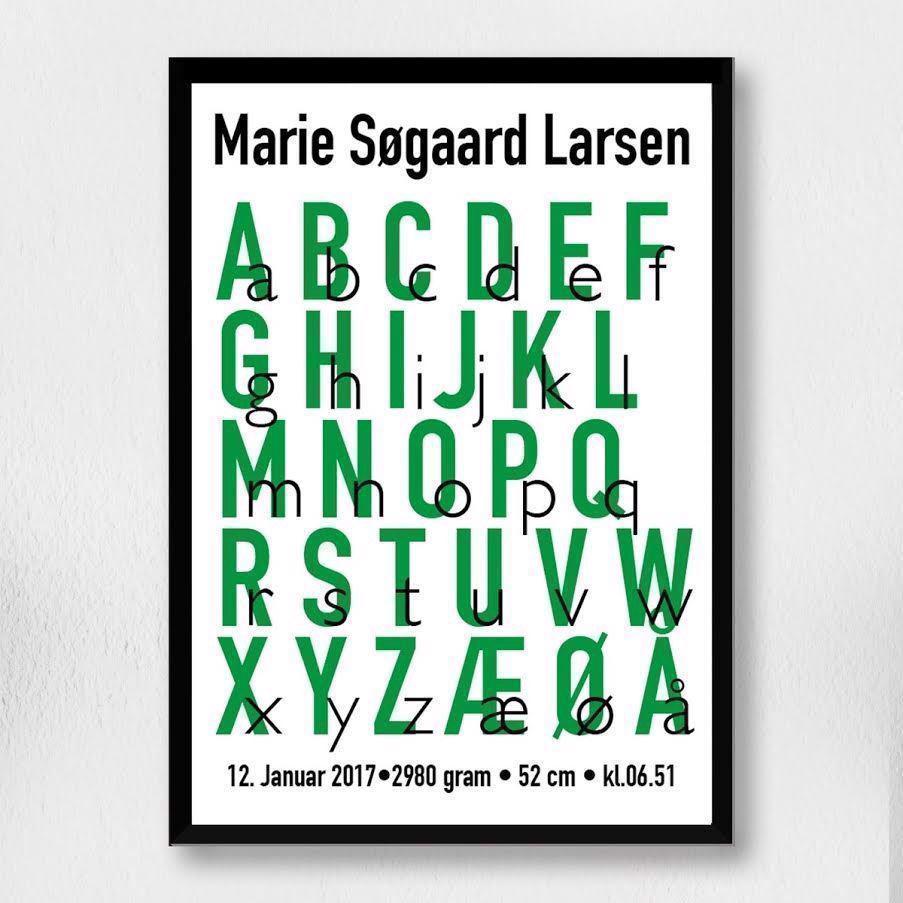 Billede af Fødselsplakat | Alfabet grøn A3