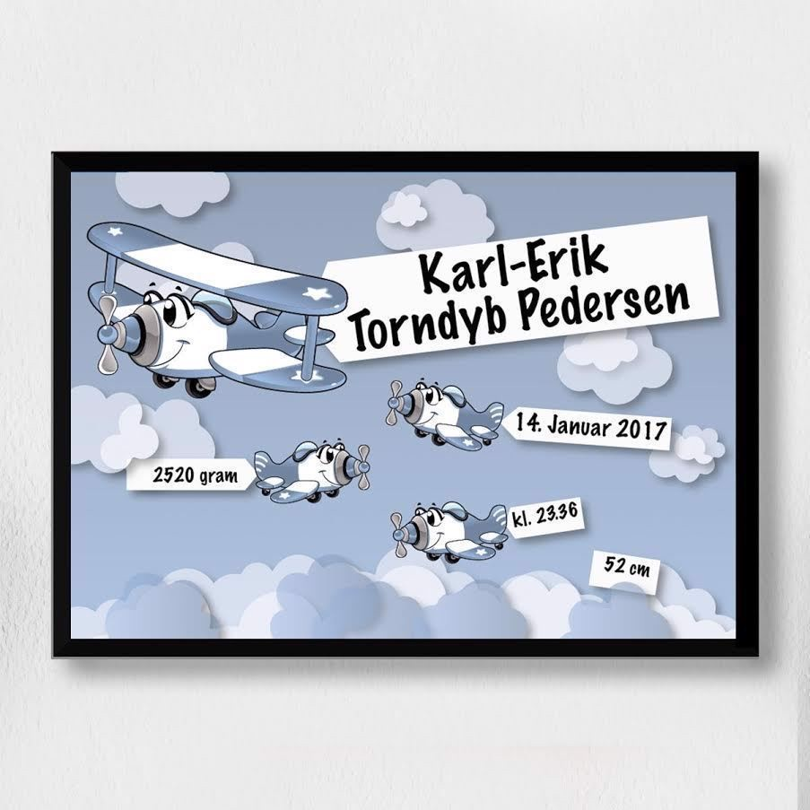 Image of   3Fødselsplakat | blå flyver A3