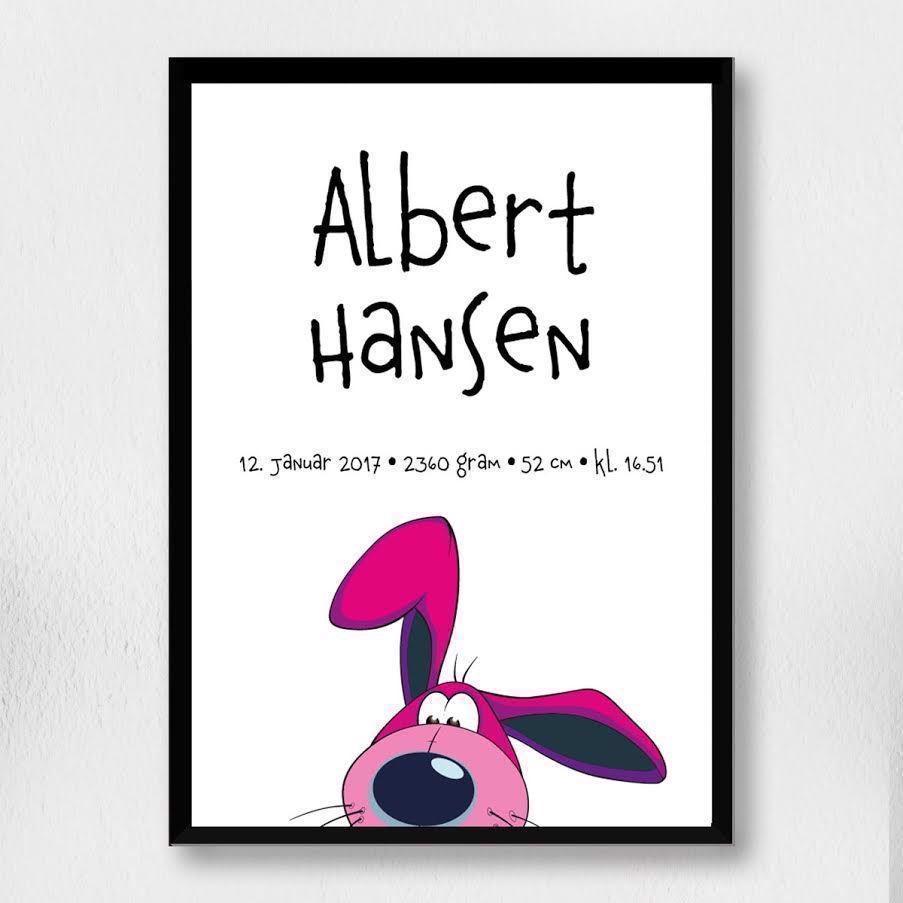 Image of Fødselsplakat | Cartoon kanin hoved A4 (Fødselsplakat | Cartoon kanin hoved A4-Uden ramme)