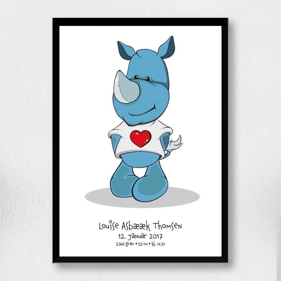 Billede af Fødselsplakat | Cartoon næsehorn A4
