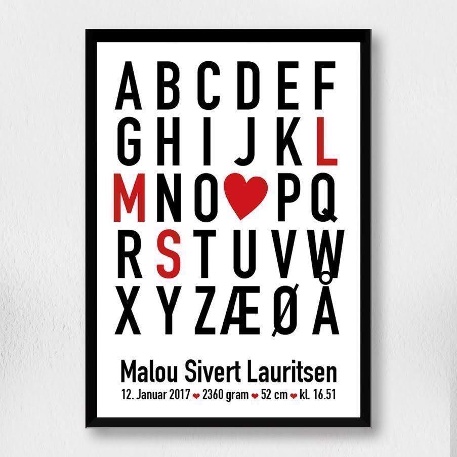 Image of Fødselsplakat | Alfabet hjerte A4 (fødselsplakat alfabet hjerte A4 -Uden ramme)