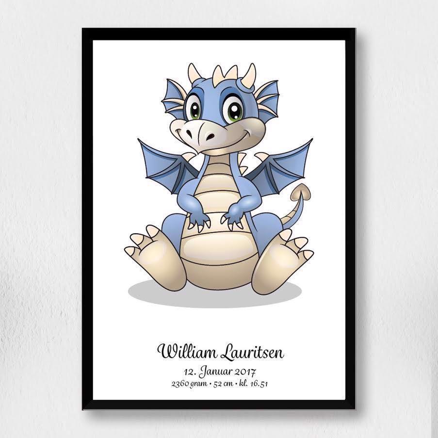 Billede af Fødselsplakat | blå drage A3