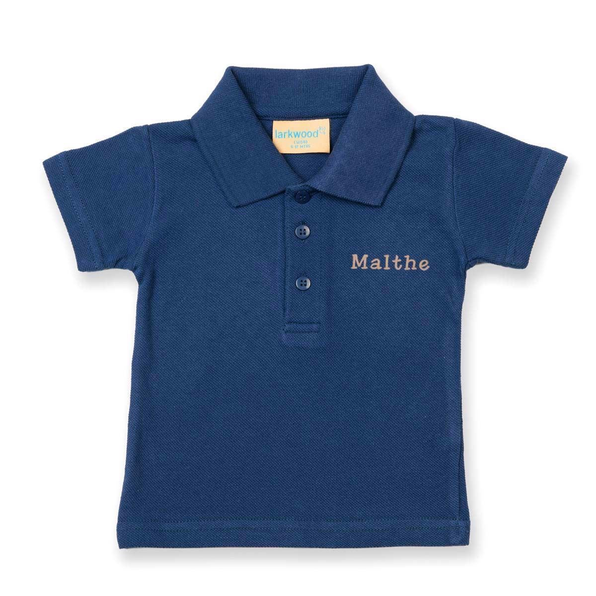 Image of   Polo shirt med navn - Mørkeblå