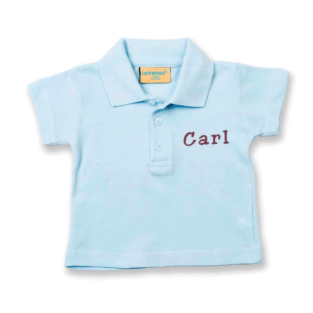 Image of   Polo shirt med navn - lyseblå